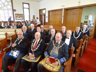 Brothers attending service including the DGM, RW Bro. George O'Leary.